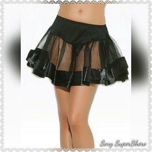 🆕Satin Trim Petticoat/Costume/Skirt/Dress /Black